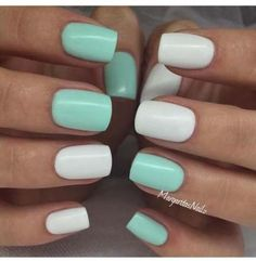 gel nails Nägel Gel Green Mint Trendy Ideas The Latest Hairstyle Fashion and Beauty Tr Mint Green Nails, Mint Nails, White Nails, Stylish Nails, Trendy Nails, Nagellack Design, Dipped Nails, Super Nails, Dream Nails