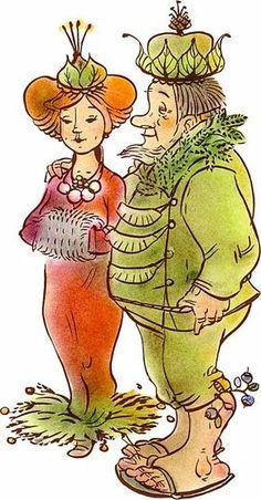 Metsolan hallitsijapari Mielikki ja Tapio hymyilevät lempeästi hienoissa marjoilla ja lehdillä koristelluissa juhlapuvuissaan.