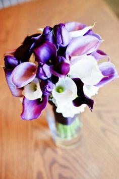 bridal bouquet with white and purple callas