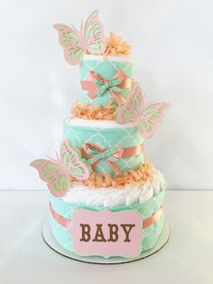 Mint and Coral Diaper Cake, Butterfly Diaper Cake, Peach, Mint and Gold Baby Shower Centerpiece Baby Cakes, Baby Shower Cakes, Regalo Baby Shower, Baby Shower Diapers, Baby Shower Parties, Baby Shower Themes, Baby Shower Gifts, Diaper Cakes, Shower Ideas