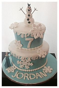frozen cake ideas | Beautiful Two-Tiers Birthday Cake Design With Frozen themed and Snow ...