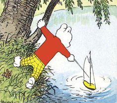 Rupert Bear loses his boat