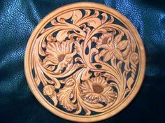 Leather tooled pillow.