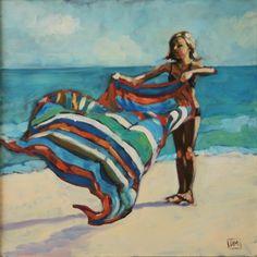 673ef0d1f65ca Beach Flip - original oil painting by Debbie Miller, painting by artist  Debbie…
