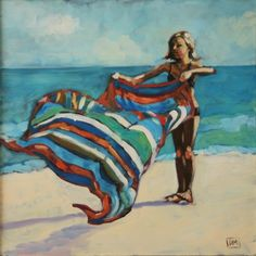 Debbie Miller Painting: Beach Flip - daily painting,beach scene