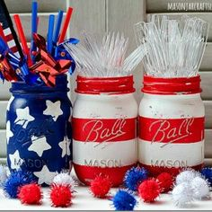 Red, White, and Blue - Mason Jar Crafts Love