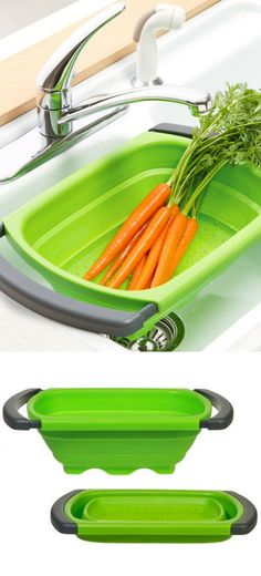 Collapsible Space Saving Over-the-Sink Colander #cooking #kitchen #gadgets