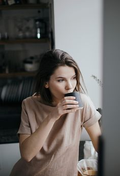 Sunday morning coffee. Linen tee in dusty rose by Ode to Sunday