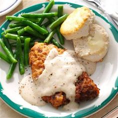 Chicken-Fried Steak & Gravy Recipe -As a child, my grandmother taught me Texas-style chicken fried steak. I taught my daughters, and when my granddaughters are bigger, I'll show them, too. —Donna Cater, Fort Ann, New York