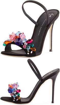 Giuseppe Zanotti suede sandal with multicolor crystal embellishment #giuseppezanottiheelssandals