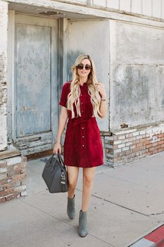 Burgundy Suede with neutrals accessories