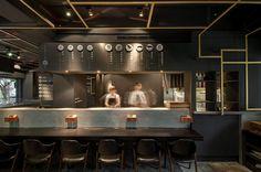 Cari De Madame restaurant by TBDC, Taipei – Taiwan Asia Restaurant, Noodle Restaurant, Chinese Restaurant, Japanese Restaurant Design, Restaurant Interior Design, Restaurant Lighting, Restaurant Concept, Restaurant Seating, Japanese Bar