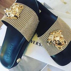 cb104386 #versace Versace Slides, Versace Sandals, Cute Slippers, Cute Shoes, Sock  Shoes
