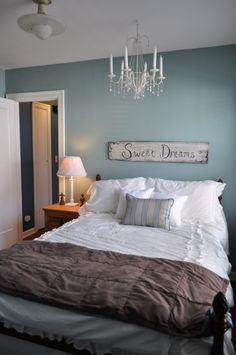 Bedroom - Wall Painting. (Love this color, just reminds me of the beach)