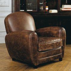 Notre essentiel... Fauteuil club vintage marron OXFORD