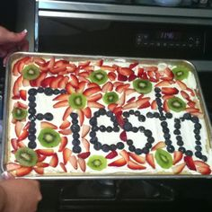 Fruit pizza for Mexican party my idea to say fiesta