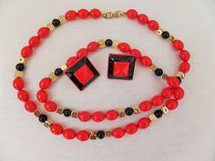 Vintage Designer Napier Necklace Earring Set Bright Red Orange