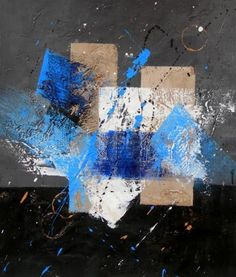 Wall Art finished in USA History: Blue, Gray and White is a hand finished canvas oil painting. This abstract wall art piece is alive, yet dark, like a moonlit s