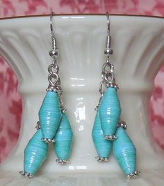 Aqua Paper Bead Earrings
