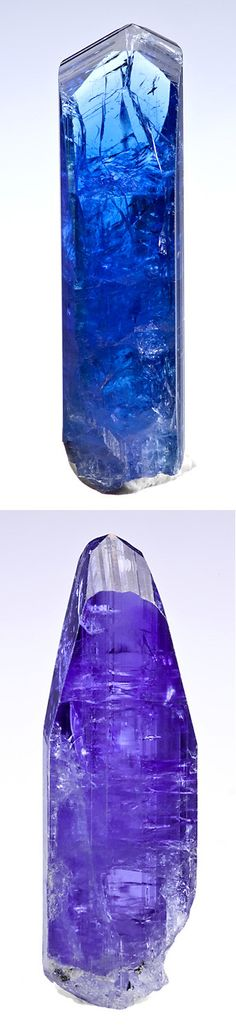 Fine terminated crystal of natural Tanzanite!  This crystal is perfectly Tanzanite with no heat treatment and as the above photos show, the color  change is strong when the crystal is viewed along a different axis. The tip of this crystal is very gemmy  and the lower portions are gemmy as well with just a scattering of internal crazing. From the Merelani Hills, Arusha Region, Tanzania.