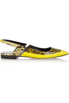 Antonio Berardi + Rupert Sanderson patent-leather and python point-toe flats