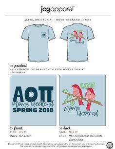JCG Apparel : Custom Printed Apparel : Alpha Omicron Pi Moms Weekend T-Shirt #greek #alphaomicronpi #aopi #aoii #aop #moms #weekend #family #parents birds #handdrawn #mother #daughter #chicks