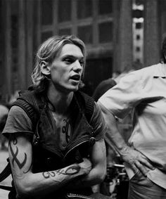 Jamie Campbell Bower on the set of City of Bones