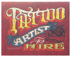 Tattoo Print from a original sign by Zeke
