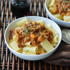 Rigatoni with Veal Bolognese and Butternut Squash   Andrew Zimmern makes his velvety pasta sauce--a classic Italian combination of sweet squash and veal--even more luscious with a touch of cream.