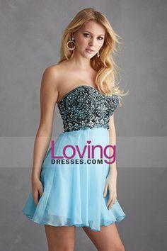 2015 Faddish Homecoming Dresses Sweetheart A Line Short/Mini Chiffon Bicolor USD 136.99 LDP5P51BQH - LovingDresses.com for mobile