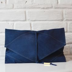 Tala royal blue nubuck leather clutch with brass detail // Shannon South