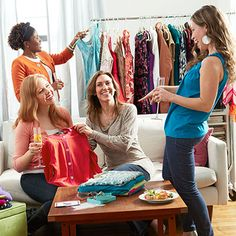 Clothing Swap Party - How To Host a Clothing Swap - Good Housekeeping (Ask guests to bring a shareable snack/wine/drink and $20 suggested donation for admission to make it a fundraiser)