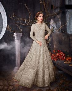 434fdadacba Beautiful Gray Five star net Gown Salwar Suits Simple