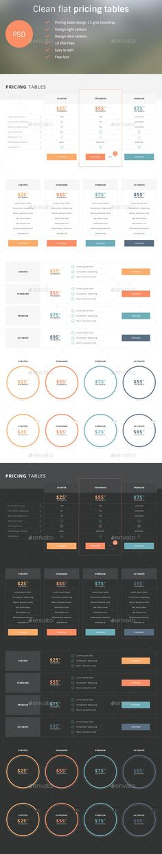 155 best Pricing Tables Templates images on Pinterest - price chart templates