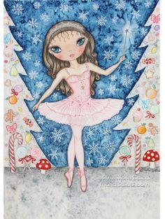 Nutcracker Sugar Plum Fairy Ballerina watercolor by MartaDalloul