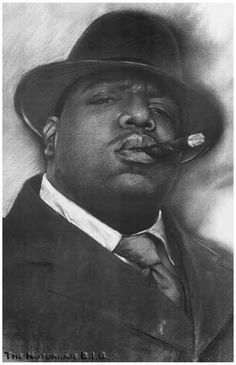 A great poster of Biggie Smalls artfully rendered in charcoal for a classy…