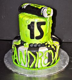 """This fun cake was for Andrew's Birthday with the theme of """"Monster Energy Drinks"""". The cake is a Chocolate cake, covered in fondant . Monster Energy Cake, Monster Energy Girls, Chocolate Treats, Delicious Chocolate, Chocolate Chocolate, Motorcycle Cake, Motorcycle Touring, Jake Cake, Fox Cake"""