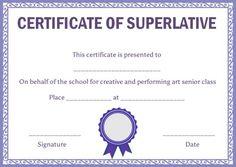 10 best superlative certificate template images on pinterest