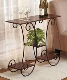 Scrolled Wrought Iron Walnut Wood Shelf Plant Stand Curio Side Entry Wine Table