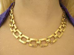 Vintage 80s Gold Tone Chunky  Greek Key Choker Necklace