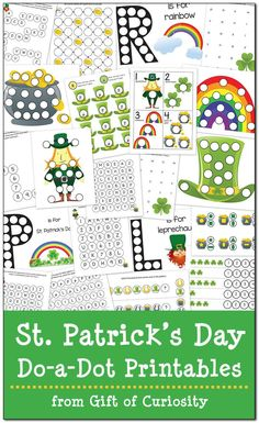 Free St. Patrick's Day Do-a-Dot Printables. This download includes 21 pages of St. Patrick's day worksheets with leprechauns, shamrocks, rainbows, and pots of gold for kids ages 2-6 || Gift of Curiosity