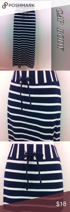 Navy and white striped Gap Body maxi skirt Fun and comfortable Gap body skirt. Cotton spandex blend, big wide waistband with a tie in front - no rips tears holes snags or stains. GAP Skirts Maxi