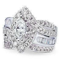 T W Marquise Diamond Wedding Ring Set In K White Gold I I