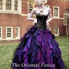 Purple and Black Organza Taffeta Ball Gown Gothic Wedding Dress Corset Victorian Halloween Bridal Gowns Vestidos de Novia Alternative Measures - Brides & Bridesmaids - Wedding, Bridal, Prom, Formal Gown