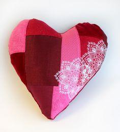 heart patchwork pillow