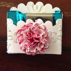 """A """"vintage"""" favor for a ladies luncheon. Used Stampin' Up's Vintage wallpaper embossing folder"""