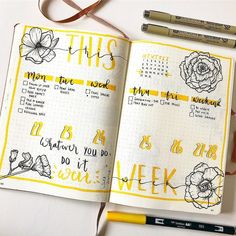 """221 Likes, 2 Comments - Blue tea Bujo (@blueteabujo) on Instagram: """"Very pretty yellow and flower theme from @grandezzasjournal #repost Is it important for you guys…"""""""