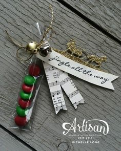 Jingle Treat Stampin365 - like the use of the bells and gold cord.