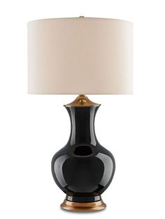 FREE SHIPPING IN THE US. USE CODE LOVE10OFF FOR 10% OFF YOUR ENTIRE PURCHASE.  Ginger jar lamps have been an elegant decorative accessory for many years. This model in all black comes with a contrasting honey beige Shantung shade.  PRODUCT NAME: Lilou Table Lamp, Black DIMENSIONS: 32h SHADES: Eggshell Shantung 17x17x11.5