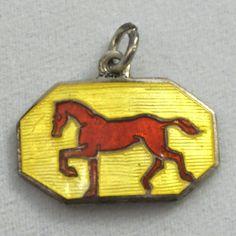 Vintage Norway Hermann Sterling Silver Guilloche Enamel Horse Bracelet Charm